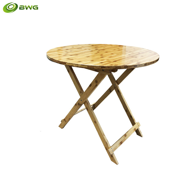 Round Bamboo Folding Table From Vietnam, Small Round Folding Cafe Table